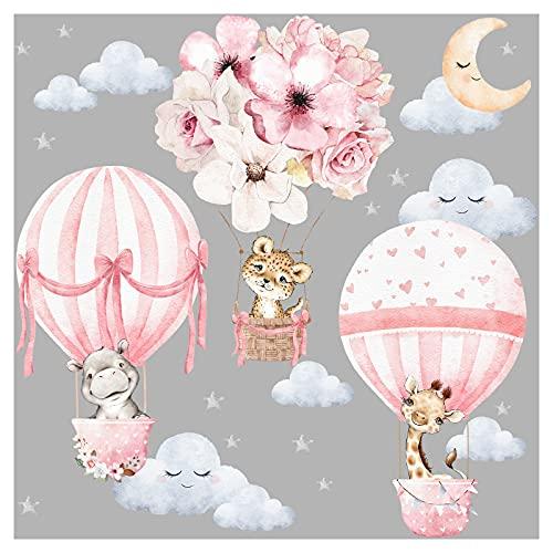 Little Deco Wandtattoo Wandsticker Kinderzimmer Tiere Heißluftballon Wandaufkleber Blumen Wanddeko Spielzimmer Babyzimmer Wandbild Kinder Mädchen DL658