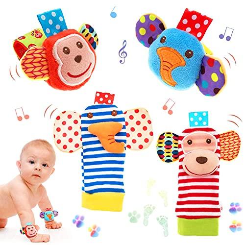Handgelenk Spielzeug Rasseln Set, 4 Pcs Cartoon Tier Rassel Kleinkind Plüschtier Spielzeug, Baby Handgelenk Rassel, Rassel Baby Rasselsocken Baby, Baby Rasseln Spielzeug, Fuß und Handgelenk Rassel