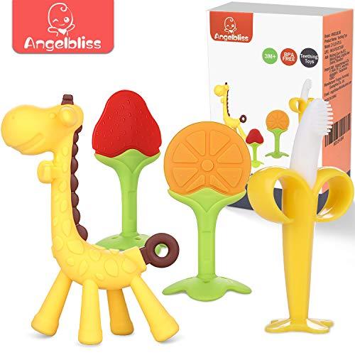 ANGELBLISS beißring für babys kühlend,Kleinkinder beissring für zum zahnen,Natürlicher Kühlbeißring ,Von der FDA zugelassene Beißring Spielzeug- 4 Stück