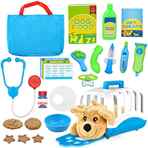 Vanplay Tierarzt Spielset Doktorkoffer Rollenspiel mit Spielzeug Hund Arztkoffer Transportbox Tierarztkoffer für Kinder Mädchen Jungen, 24 Teile