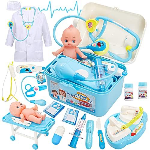 Buyger Kinder Arztkoffer Doktorkoffer Rollenspiel Spielzeug Doktor Medizinische Arztkittel, Geschenke ab 3 4 Jahre Jungen Mädchen (Blau)