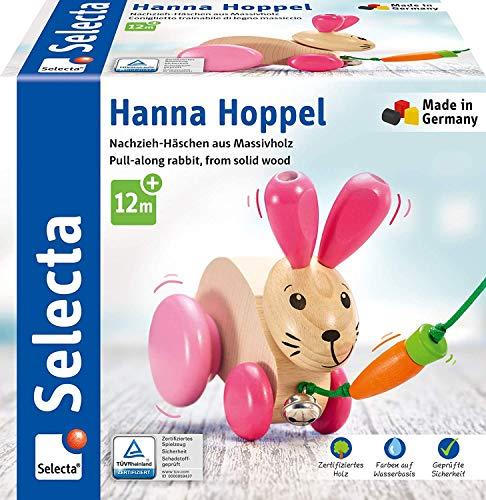Selecta 62023 Hanna Hoppel, Nachzieh Hase, Schiebe-und Nachziehspielzeug aus Holz, 13 cm