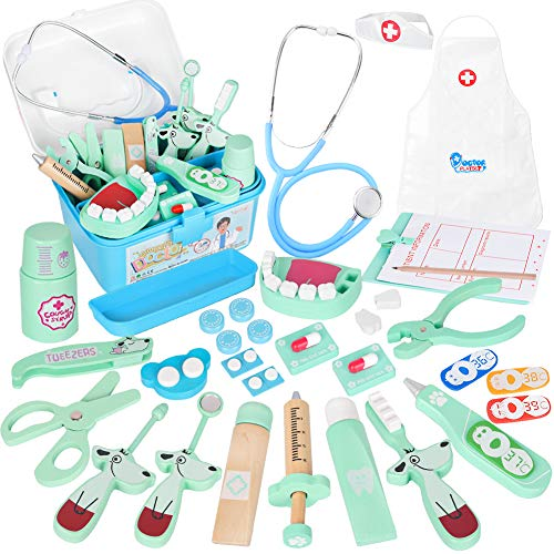 Vanplay Arztkoffer Holz Doktor Spielzeug mit Echt Stethoskop für Kinder Blau Rollenspiel Geschenk ab 3 4 5 Jahren Jungen (42Stk.)