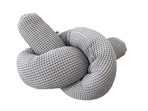 Glückspilz I Bettschlange I Nestchen Babybett (200 cm, Waffelpique Grau)