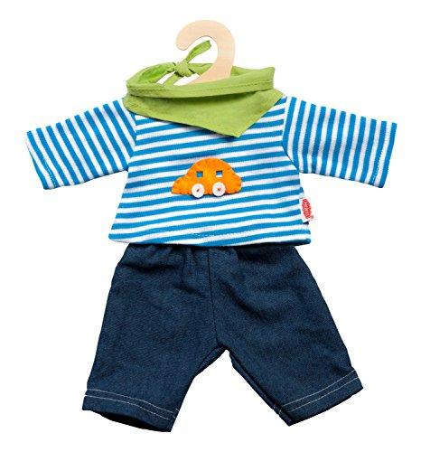 Heless 2315 - Bekleidungsset für Puppen, 3 teilig, Jeans mit Streifenshirt und pfiffigem Halstuch, Größe 35 - 45 cm