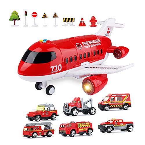 Jenilily Feuerwehr Flugzeug Spielzeug Auto mit Sirene und Licht Kleinkind TransporterSpielzeugautos Set Kinder Jungen ab 3