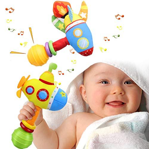 aovowog Rassel Baby Babyspielzeug ab 0 3 6 9 Monate,Greifling Baby Spielzeug ab 0 3 6 9 Monate Set Mädchen Junge,2 Pack Raketen-U-Boot mit Klingel Glocke Ring,Geschenk Baby Mädchen Junge