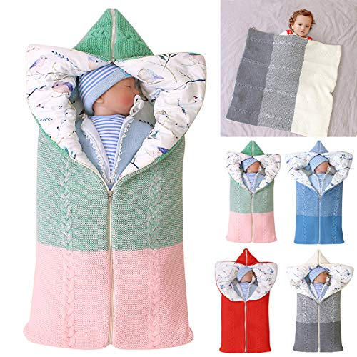 Kinderwagen Decke, Neugeborenen Wickeldecke Winter warme Schlafsack für 0-12 Monate Baby Jungen oder Mädchen (Grün- Rosa)