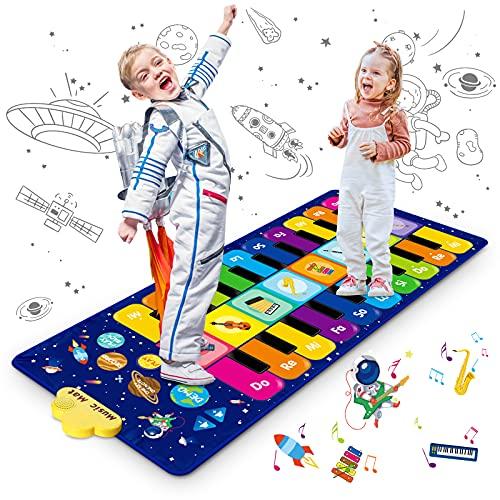 Innedu Klaviermatte, musikmatte Kinder, Sternenhimmel Musik Tanzmatte Keyboard Klavier Playmat Lernspielzeug Lustige Spielteppich mit 8 Instrumenten, 10 Liedern & 20 Tasten, 120 x 48 cm