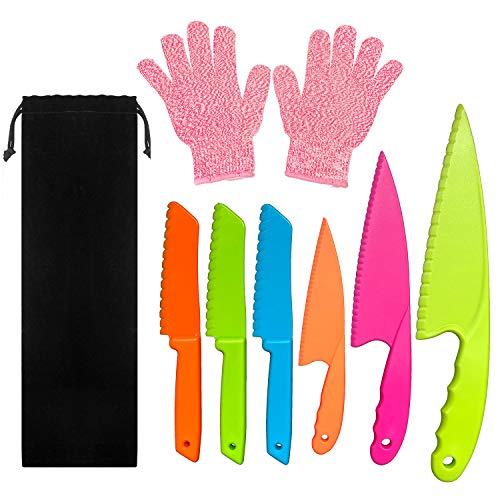 LLGLEU 6-teiliges Kunststoff-Küchenmesser-Set mit Schnittfestigkeit - Kunststoffmesser - Kids Safe Chef Nylonmesser/Kinder-Kochmesser für Obst, Brot, Kuchen, Salat und Salat (Multi-Color 2)
