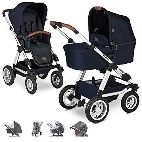 ABC Design Kombi Kinderwagen Viper 4 mit Zubehör Set - 2in1 Kombikinderwagen mit Babywanne und Sportwagen inkl Insektennetz, Regenschutz und Sonnensegel - Shadow Blau