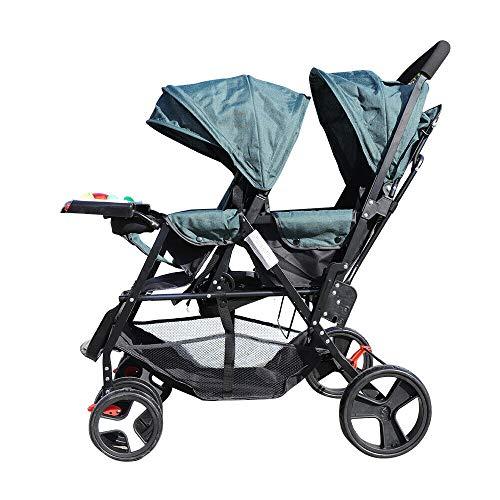 Geschwisterwagen Klappbar Zwillingswagen Kinderbuggy Buggy Zwilinge Kinderwagen Babybuggy Babywagen Grün, für Babys ab 6 Monate, Belastbar bis 33 LB
