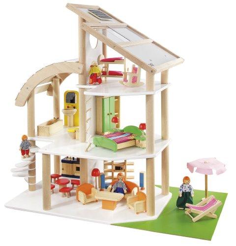 howa Puppenhaus Strandvilla Holz incl. 30 TLG. Möbelset, 4 Puppen 7014