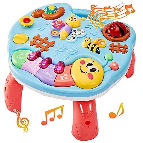 LINFUN KIDS Baby Musikspielzeug Spieltisch Musik Lerntisch Musikalische Aktivität Tisch Spielzeug Lernspielzeug für Kinder 1 Jahr
