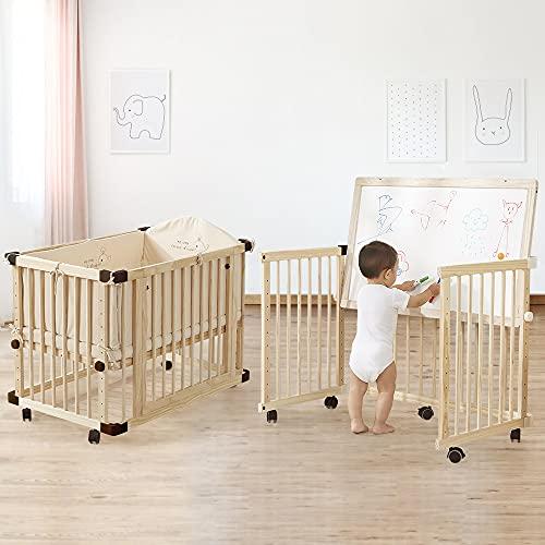 Dripex Baby Cabrio Kinderbett Holz Krippe Kiefer mit Rollen Holz Kinderbett unlackiert und nahtlos genäht Neugeborene Krippe multifunktionales Schlafsofa Laufgitter (100 x 65 cm)
