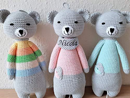 Handgefertigte Spieluhr Baby Teddybär mit Namen personalisiert, Geschenk zur Geburt Mädchen Junge Melodie zum wählen