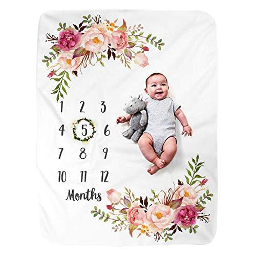 JMITHA Baby Monats Decke, Neugeborene Baby Monatliche als Foto Hintergrund mit Meilenstein-Druckmuster 100x130cm