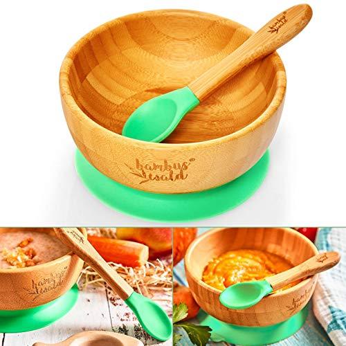 bambuswald© ökologische Saugnapf-Schüssel inkl. Löffel für Babys & Kleinkinder | 100% nachhaltige Schale aus Bambus - Standfeste Fütter-Schüssel Geschirr-Set für Kinder Teller Babies