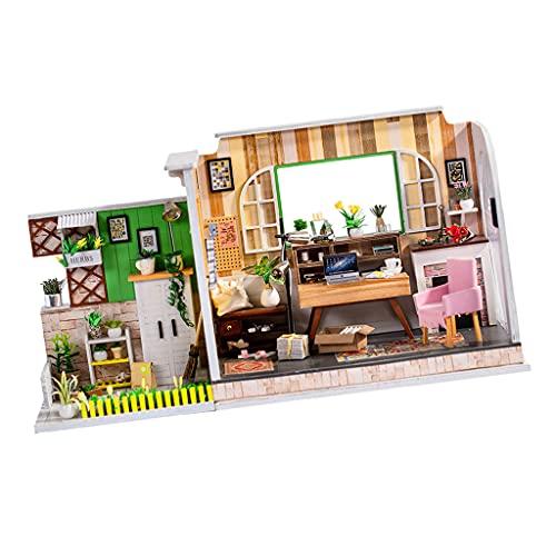 yotijay DIY Holzpuppenhaus Bausatz Miniaturstudie mit Möbeln Und Licht