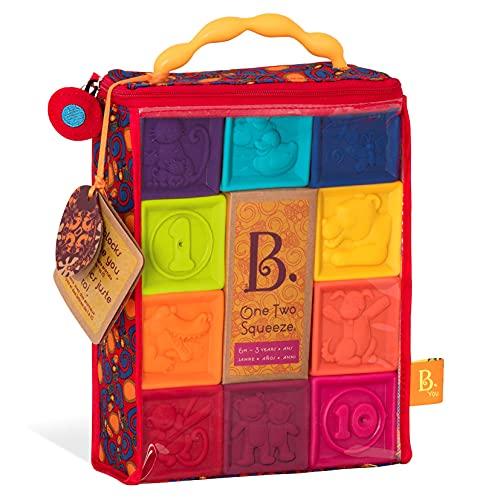 B. toys by Battat BX1002Z Baby Spielzeug Weiche Bauklötze, Bausteine Motorikspielzeug, Lernspielzeug, Stapelwürfel mit Zahlen und Tieren für Babys ab 6 Monate (10 Teile)