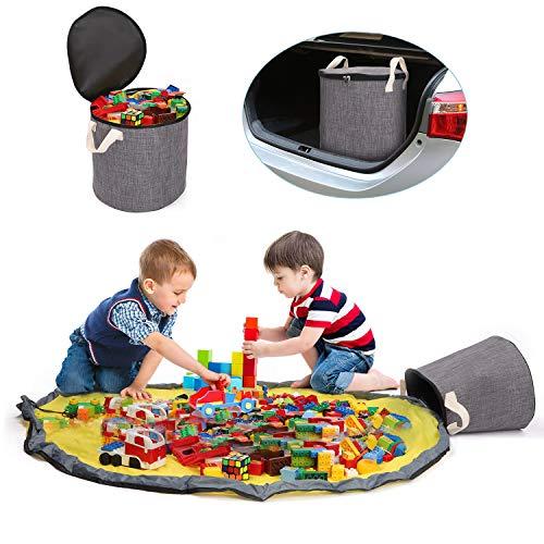 """Spielzeug Aufbewahrungsmatte Tasche für Lego – Spielzeugmattentasche von Kordelzug tragbar Spielzeug Veranstalter bin Container 59"""" für Duplo Bausteine mit Aktualisiert Reißverschlussdeckel"""