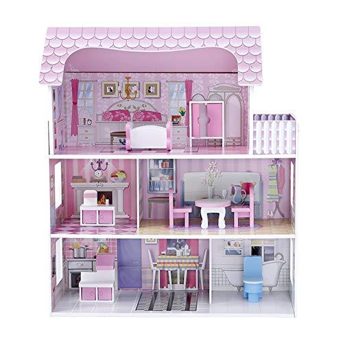 ZzheHou Puppenhaus Spielzeug Prinzessin Haus DIY Puppenhaus Haus Haus Modell Große Holzpuppenhaus mit Möbeln 3D Puzzle für Kinder Dekoratives Puppenhaus (Farbe : Pink, Size : 60×23.5×70 cm)