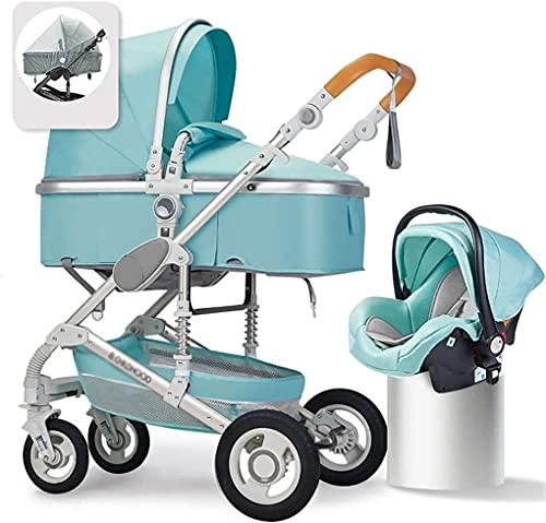 YQLWX Babyschalen und Kinderwagen, Kinderkraft Pram 3 in 1 Set, Reisesystem, Kinderwagen, Buggy, faltbar, mit Kleinkindwagensitz, Baby-Fan, Regenschutz, Fußbaum, Becherhalter (Farbe: schwarz)