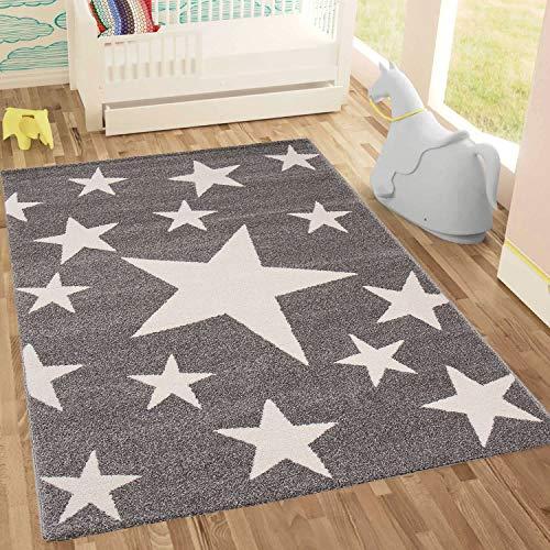 Kinderteppich Sky Sterne   Kinderteppich für Mädchen und Jungen   Teppich für Kinderzimmer   Stern   Blau Rosa   Schadstofffrei Kinderzimmerteppiche geprüft von Öko-Tex (Grau, 160x230 cm)