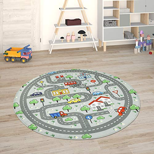 Paco Home Kinderteppich Teppich Kinderzimmer Spielmatte Straßenteppich Spielteppich, Grösse:150 cm Rund, Farbe:Grau