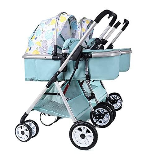 Zwillingskinderwagen, Leichter Hochlandschaftskinderwagen, Kann Sitzen/Liegen Geteilter Faltbarer Doppelkinderwagen (Color : Innocence)