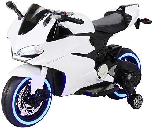Actionbikes Motors Kinder Elektromotorrad 1299SS - Led Beleuchtung - Stützräder - Softstart - Multimedia - Elektro Motorrad für Kinder ab 3 Jahre (Weiß)