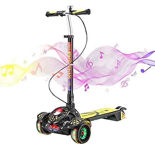 DODOBD Scooter Kinder Roller, Faltbar Kinderroller, Scooter Kinder für ab 3-14 Jahre Mädchen und Jungen,Höhenverstellbarer Kinderscooter mit 3 PU Räder,Dreiradscooter Maximale 100 KG