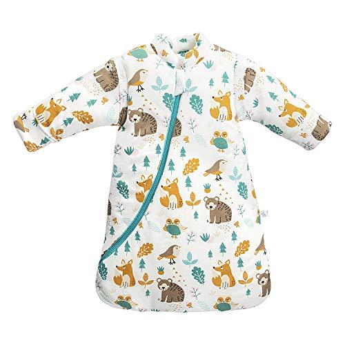 Baby Winter schlafsack Kinder schlafsack 3.5 Tog Schlafsaecke aus Bio Baumwolle Verschiedene Groessen von Geburt bis 4 Jahre alt (L:Höhe 90cm-105cm/24-48Monate, Tierwelt)
