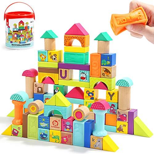 TOP BRIGHT Bauklötze ab 2 Jahre Holz, Holzbausteine Kinder 80 Teile in Aufbewahrungsbox, Holzspielzeug 1 2 3 Jahre für Mädchen und Junge Geschenke