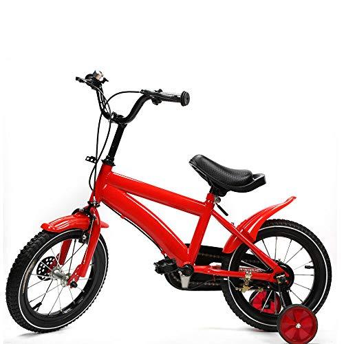 Kinderfahrrad Jungenfahrrad Stützräder Unisex Mädchen Fahrrad mit Hilfsrad Stützräder Kinderfahrrad Laufrad Kinder Fahrrad Jungen Mädchen Freestyle 14 Zoll (Rot)