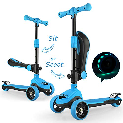 Fascol 2 in 1 Kinder Roller Kinderscooter Kleinkinder Scooter mit Klappbar Sitz und LED Räder Verstellbare Lenker Kinderroller für Kinder ab 1.5-8 Jahre (Blau)