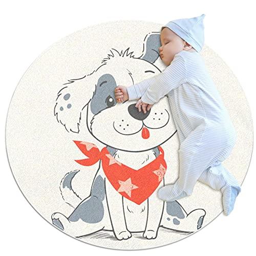 Runder Kinderteppich runder Teppich rutschfeste runde Teppiche waschbare Bodenmatte,Cartoon Hund