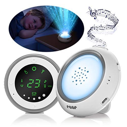 Reer 50080 Projektor Babyphone mit Sternenhimmel-Nachtlicht und Wiegenlied-Funktion, Weiß