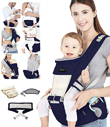 Azeekoom Babytrage Ergonomische, Kindertrage mit Hüftsitz, Befestigungsgürtel, Lätzchen, Schultergurt, Kopfbedeckung für Neugeborene bis Kinder von 3 bis 48 Monaten (Dunkelblau)