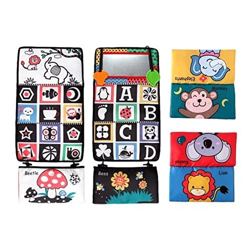 Xuanshengjia Bauchspiegel, Babybodenspiegel, kontrastreiches Babyspielzeug, schwarz und weiß mit Beißringen, waschbar sicheres Bauchkriechspielzeug für Babys Kleinkinder Kinder