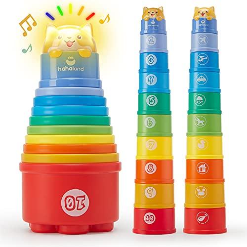 10 Stück Stapelbecher Baby Spielzeug ab 1 Jahr, Regenbogen Stapelturm Baby Spielzeug mit Lichter Klänge Zahlen Nisten, Badespielzeug Strandspielzeug für ab 1 2 3 Jahr Junge Mädchen