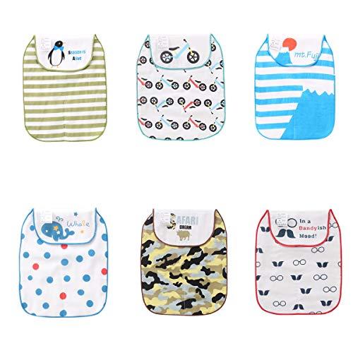 Schweißbänder für Babys, saugfähig, 5-lagig, Baumwolle, Gaze mit niedlichem Cartoon-Motiv, sehr weich, 6 Stück Gr. S, Jungen