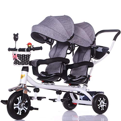 Kinderwagen Kinder Doppel Dreirad Twin Baby Fahrrad Licht Trolley Big Kinderwagen Extended Markise Ablagekorb Kinderwagen Kinderbuggy (Color : D)