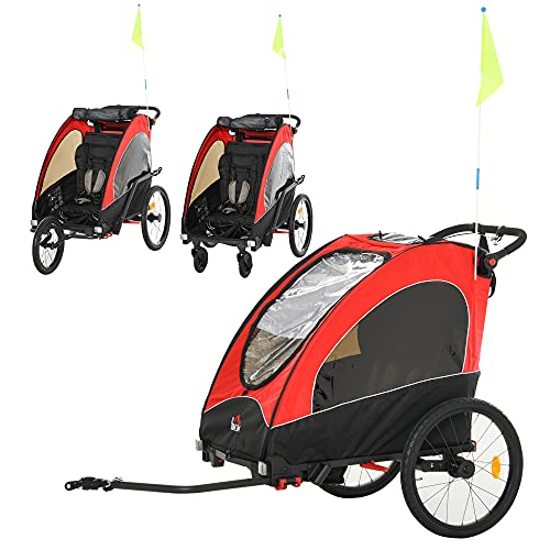 HOMCOM 3 in 1 Kinderanhänger Aluminium Kinder Jogger Fahrradanhänger Radanhänger für 2 kinder mit Fahne Rot+Schwarz