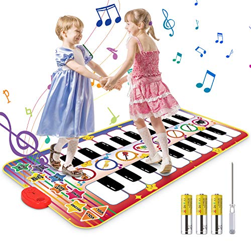 Vimzone Piano Matte, 20 Klaviertasten 8 Instrumente Klaviermatte für Kinder, Tanzmatte Musikmatte Lernspielzeug Geschenke für Baby Jungen Mädchen (140*71cm)