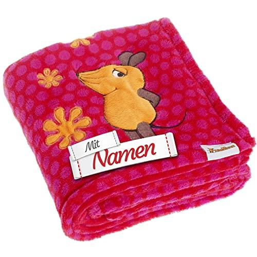 DIE Maus Schmusedecke mit Namen Bestickt, Fleece-Decke Babydecke Plüschdecke für Jungen und Mädchen, 75 x 100