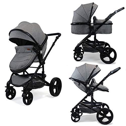 Pixini Kalani 2 in 1 Kinderwagen Komplettset inkl. Babywanne & Buggy & Wickeltasche/Regenplane/Getränkehalter/Mückennetz in grau melange