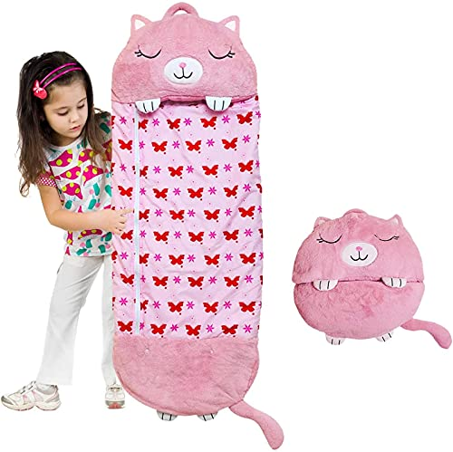 AGLOAT Happy Kids Nappers, Kinder Schlafsack Kissen Schlafsack, faltbar Kinderschlafsack - Weicher Tierschlafsack Tragbare Kissen und Schlafsäcke geeignet Bestes GeschenkParent-Kind,B-XL