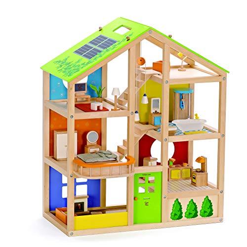 Hape Vier-Jahreszeiten Puppenhaus aus Holz von Hape   Preisgekröntes dreistöckiges Puppenhaus mit Mobiliar, Zubehör, verschiebbaren Treppen und wendbarem Dach für jede Jahreszeit