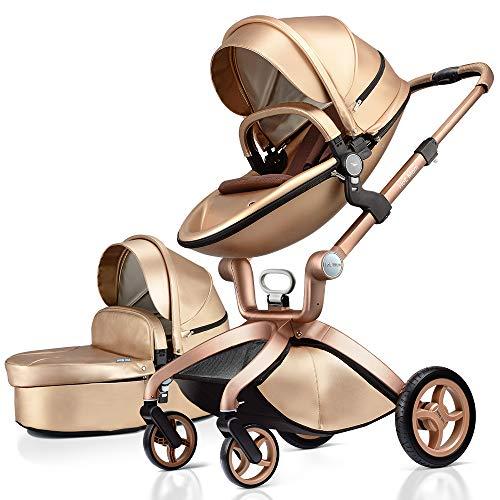 Hot Mom Klassik 2 in 1 Kinderwagen - Kombikinderwagen 3 in 1 Riesenset komplett set, Alu-Rahmen/Voll-Gummireifen/Regenschutz/Mosquitonetz Modell F22 (Golden)